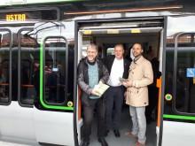 Ulrich Schmersow, Michael Dette und Immo Heinzel bei der Sonderfahrt zur Einweihung des neunen Streckenabschnitts.